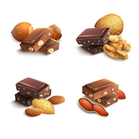 Illustration pour Dark and milk chocolate with nuts realistic set isolated vector illustration - image libre de droit