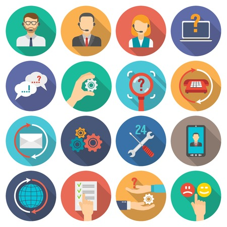 Illustration pour Technical support and customer assistance icons flat set isolated vector illustration - image libre de droit