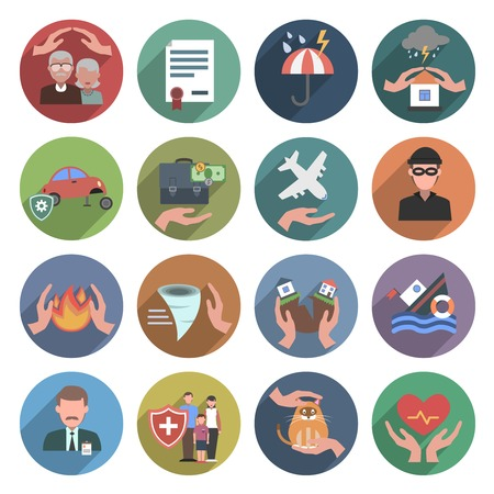 Illustration pour Insurance icons flat set with natural disasters health and property protection symbols isolated vector illustration - image libre de droit
