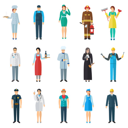 Illustration pour Profession and job avatar with standing people icons set flat isolated vector illustration - image libre de droit