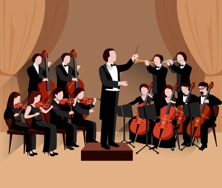 Illustration for Symphonic orchestra with conductor violins chello and trumpet musicians flat vector illustration - Royalty Free Image