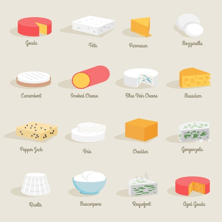 Illustration pour Delicious fresh cheese variety icon flat set isolated vector illustration - image libre de droit