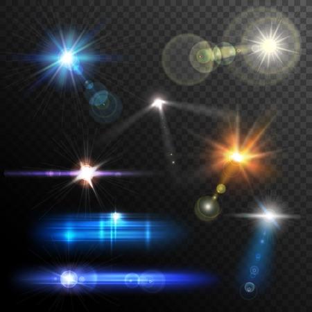 Illustration pour Realistic lens flares beams and flashes on transparent background vector illustration - image libre de droit