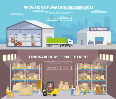 Photo for Warehouse banner set with shipping and delivery flat elements isolated vector illustration - Royalty Free Image