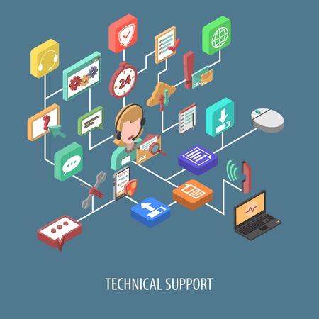 Illustration pour Support isometric flowchart concept with 3d service person and technical communication icons vector illustration - image libre de droit