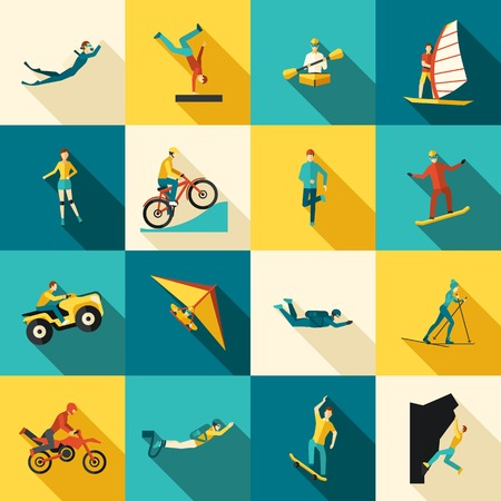 Illustration pour Extreme sports flat long shadow icons set isolated vector illustration - image libre de droit