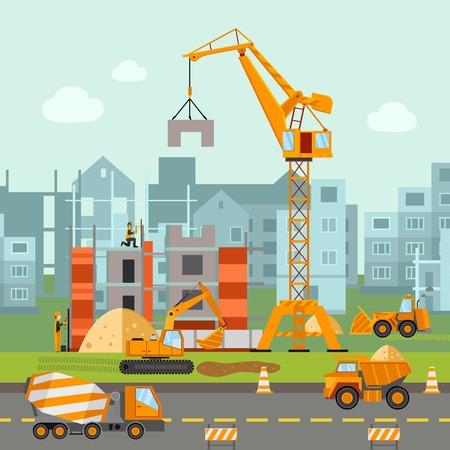Illustration pour Building work process with houses and construction machines flat vector illustration - image libre de droit