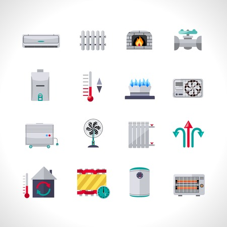 Illustration pour Heating icons set with household electric and air conditioning system symbols isolated vector illustration - image libre de droit