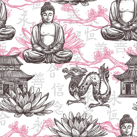 Illustration pour Asian seamless pattern with sketch pagoda building lotus flower dragon vector illustration - image libre de droit