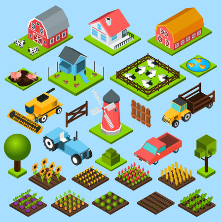 Illustration pour Farm toy blocks modeling mill harvesting combine and chicken house isometric icons set isolated abstract vector illustration - image libre de droit