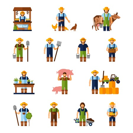 Illustration pour Farmers and gardeners flat agriculture icons set isolated vector illustration - image libre de droit