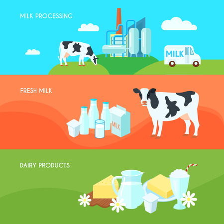 Illustration pour Milk farm dairy products flat horizontal banners set with cream yoghurt and cheese abstract isolated vector illustration - image libre de droit
