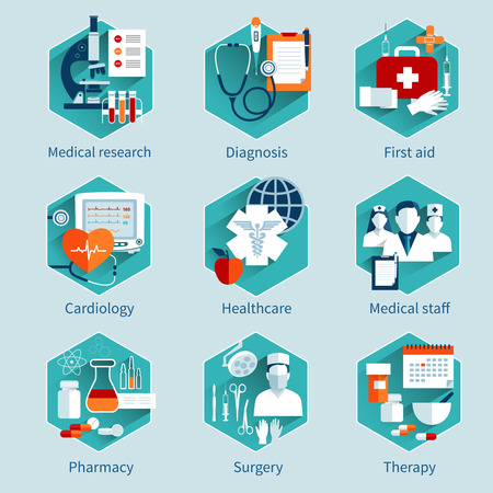 Illustration pour Medical concepts set with research diagnosis first aid icons isolated vector illustration - image libre de droit