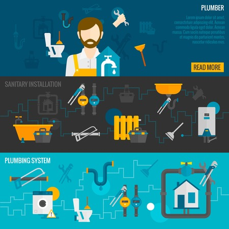 Illustration pour Plumber horizontal banner set with sanitary installation plumbing system elements isolated vector illustration - image libre de droit