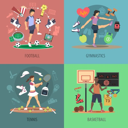 Sport people design concept set with football gymnastics tennis and basketball flat icons isolated vector illustration