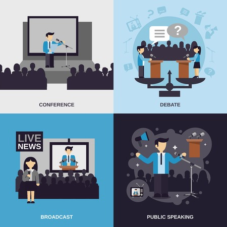 Illustration pour Public speaking design concept set with conference debate broadcast flat icons isolated vector illustration - image libre de droit