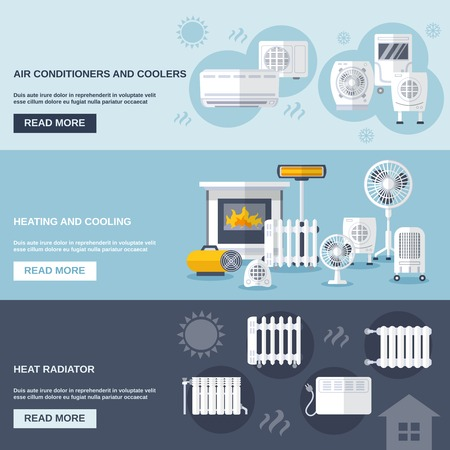 Illustration pour Heating and cooling banner set with conditioner flat elements isolated vector illustration - image libre de droit