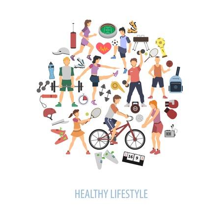 Ilustración de Healthy lifestyle concept with people playing sport games flat vector illustration - Imagen libre de derechos