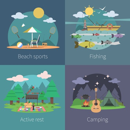 Summer design concept set with beach sports fishing active camping flat icons isolated vector illustration