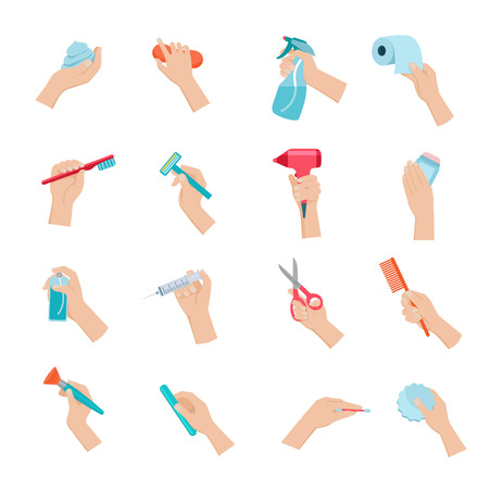 Ilustración de Hand holding household objects and hygiene accessories icons set flat isolated vector illustration - Imagen libre de derechos