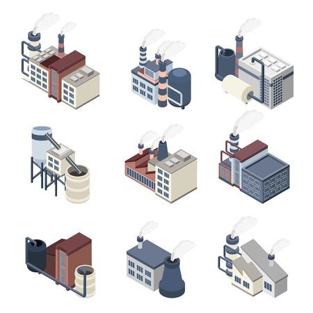 Ilustración de Industrial buldings isometric icons set with 3d plants and factories isolated vector illustration - Imagen libre de derechos