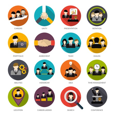Illustration for Human resources flat icons set with office hierarchy team management people rotation isolated vector illustration - Royalty Free Image