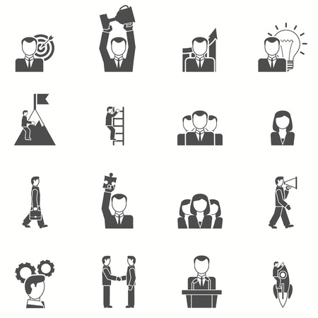 Illustration for Leadership and startup icons set with puzzle cup and target black white flat isolated vector illustration - Royalty Free Image