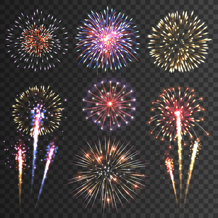 Ilustración de Festive patterned firework  bursting  in various shapes sparkling pictograms set  against black background abstract vector isolated illustration - Imagen libre de derechos