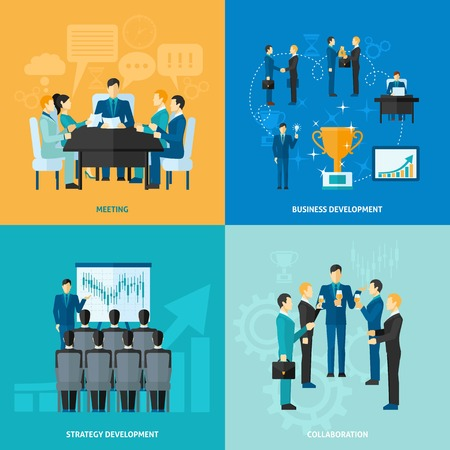 Illustration pour Business design concept set with meeting strategy development and collaboration flat icons isolated vector illustration - image libre de droit