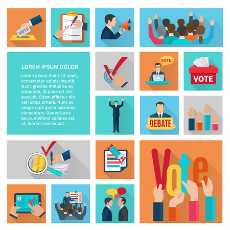 Illustration pour Political elections and voting flat decorative icons set isolated vector illustration - image libre de droit