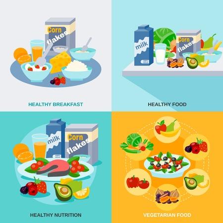 Ilustración de Healthy food design concept set with vegetarian nutrition icons isolated vector illustration - Imagen libre de derechos