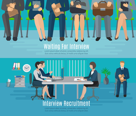 Illustration pour Hiring process horizontal banner set with people waiting for recruitment interview flat elements isolated vector illustration - image libre de droit