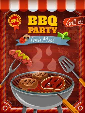 Illustration pour Barbecue party poster with hot meat and sausages on grill vector illustration - image libre de droit
