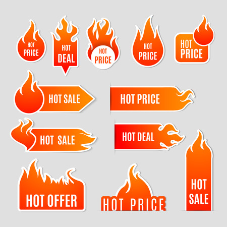 Illustration pour Fire and flame sale clearance and hot deal text labels flat icon set isolated vector illustration - image libre de droit