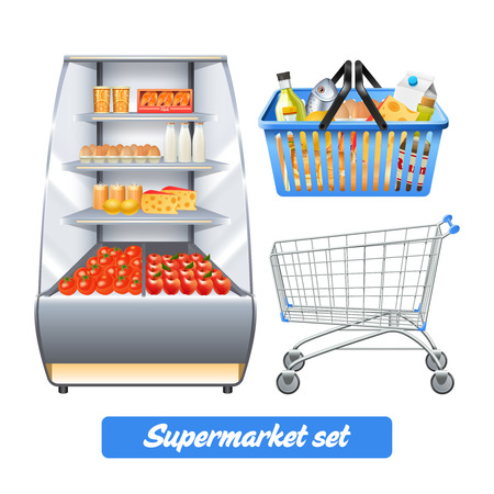 Illustration pour Supermarket set with realistic food shelves shopping basket and empty trolley isolated vector illustration - image libre de droit