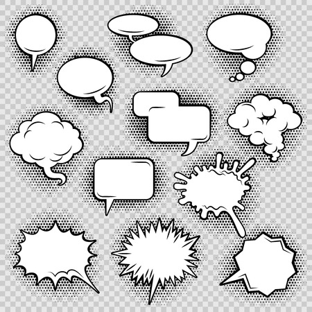 Illustration for Comic speech bubbles icons collection of cloud oval rectangle and jagged shape contours abstract isolated vector illustration - Royalty Free Image