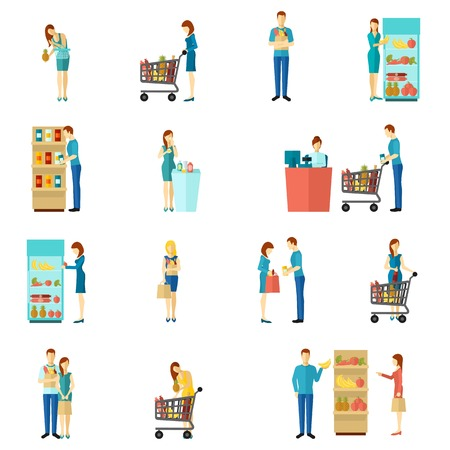 Illustration pour Buyers and customers people man and woman shopping choice flat color icon set isolated vector illustration - image libre de droit