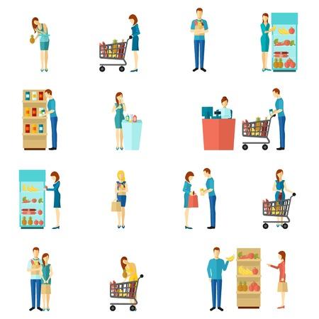 Ilustración de Buyers and customers people man and woman shopping choice flat color icon set isolated vector illustration - Imagen libre de derechos