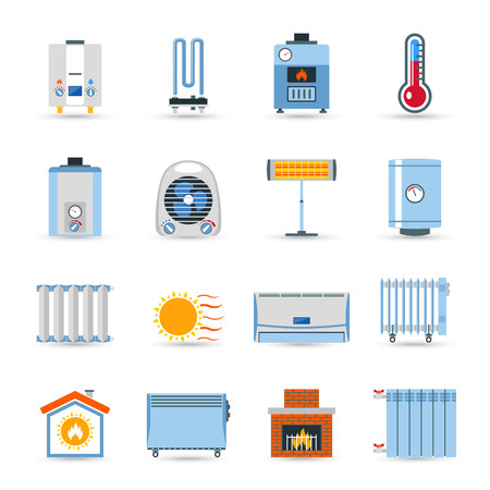 Illustration pour Heating devices boilers radiators and emitter or fireplace flat color icon set isolated vector illustration - image libre de droit