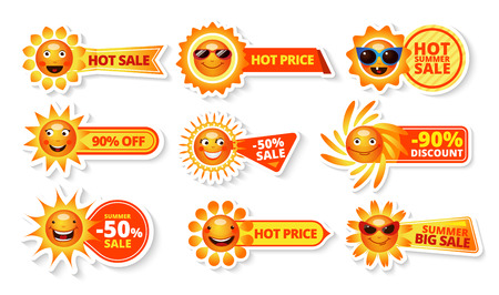Illustration pour Summer sale tags with smiley sun and hot price with big discount labels isolated  vector illustration - image libre de droit