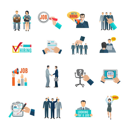 Illustration pour Personnel hiring and recruitment flat icons set isolated vector illustration - image libre de droit