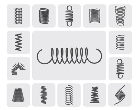 Illustration for Flexible metal spiral springs flat icons set isolated vector illustration - Royalty Free Image