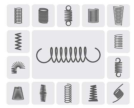 Illustration pour Flexible metal spiral springs flat icons set isolated vector illustration - image libre de droit