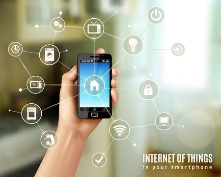 Ilustración de Internet of things concept with realistic human hand holding smartphone vector illustration - Imagen libre de derechos