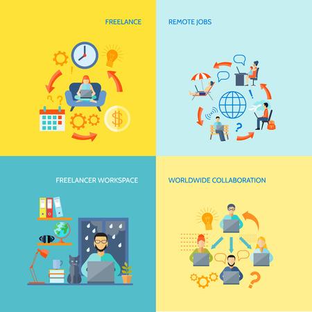 Illustration pour Freelancer workspace worldwide collaboration and remote jobs flat color decorative icon set isolated vector illustration - image libre de droit