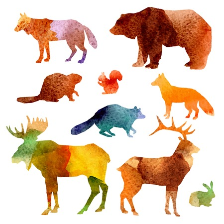Ilustración de Watercolor forest animals set with beaver raccoon fox and hare isolated vector illustration - Imagen libre de derechos