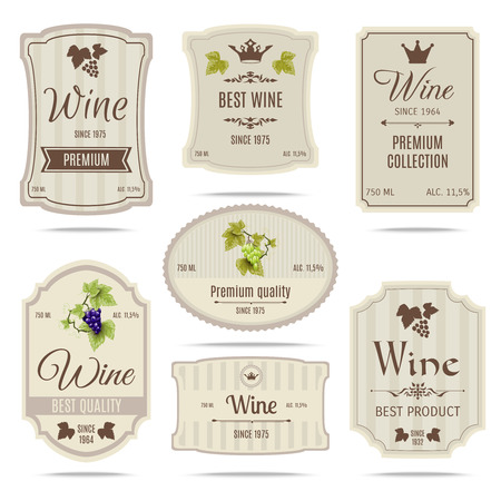 Ilustración de Special collection best quality grape varieties and premium wine brand names labels emblems abstract isolated vector illustration - Imagen libre de derechos