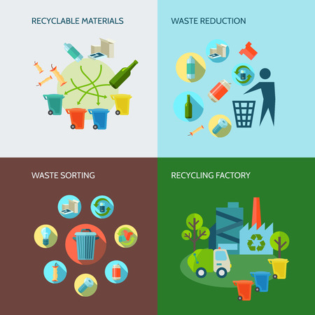 Ilustración de Recycling and waste reduction icons set with materials and sorting flat isolated vector illustration - Imagen libre de derechos