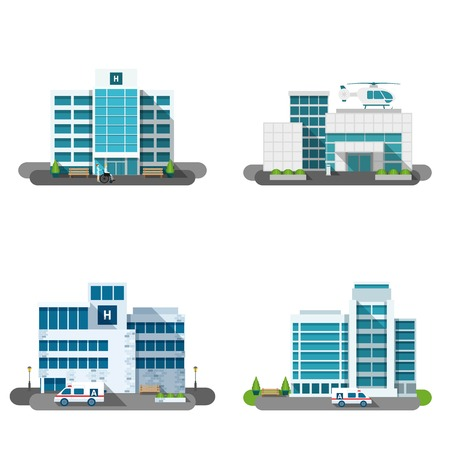 Illustration pour Hospital building outdoors facades flat decorative icons set isolated vector illustration - image libre de droit