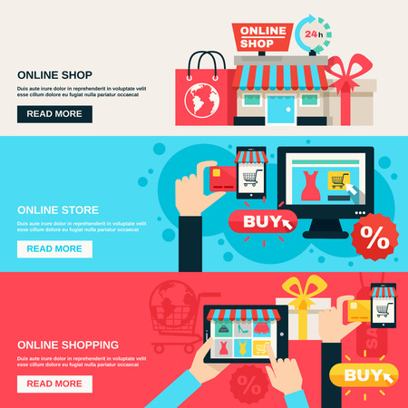 Illustration pour Internet shopping web market and online store flat color horizontal banner set isolated vector illustration - image libre de droit